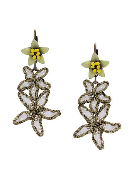 women embellished earrings silver white jewels