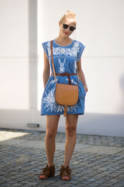 dress embroidered dress blue and white embroidered dress vanessa jackman blue dress