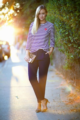 late afternoon blogger top bag jewels stripes leopard print leopard print high heels pants shoes