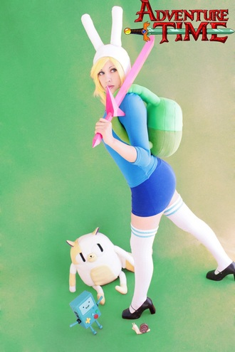 shirt adventure time costume halloween halloween costume adventure time costume costume ideas shoes green pink blue blue skirt blue shirt thigh highs socks knee high socks blue stripes bag backpack cake cake the cat fionna the human fionna and cake black heels black flats sword bunny ears bunny cats the adventure time bunny hat