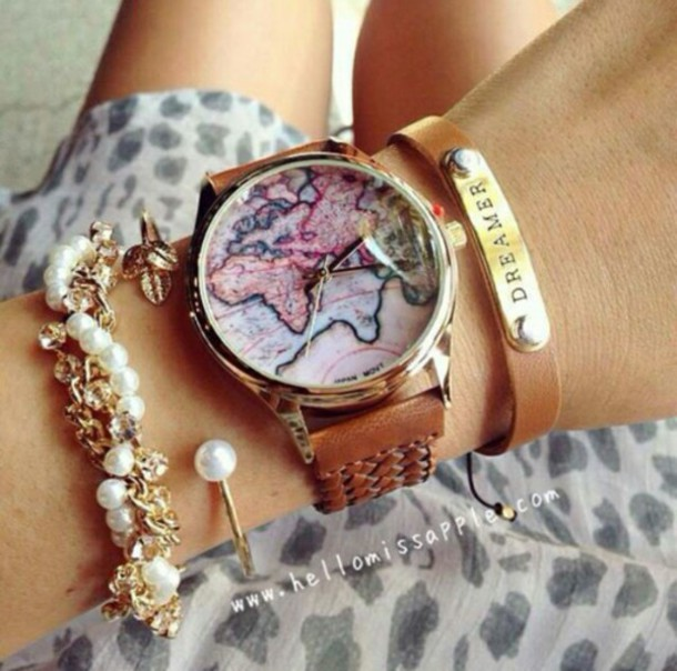 jewels watch bracelet cool map dreamer