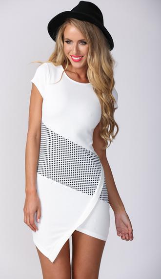white dress bodycon dress popcherry party dress mini dress asymmetrical asymmetrical dress