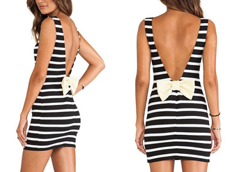 sexy sexy dress dress open back open back dresses bows bodycon dress stripes striped dress skirt top tank top t-shirt clothes fashion