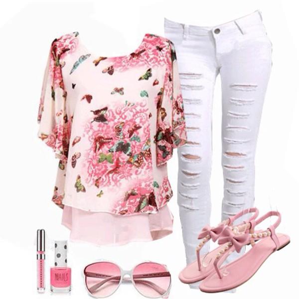 blouse floral t shirt jeans shoes