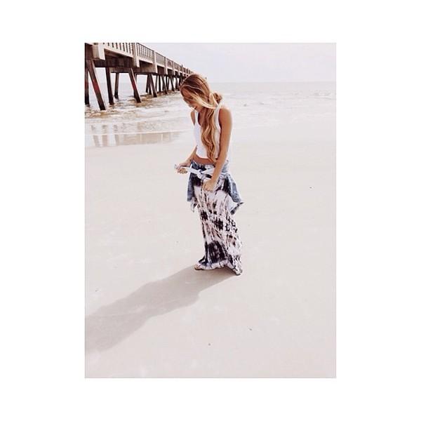 skirt maxi skirt maxi long skirt tie dye tie dye skirt navy creme beige summer summer skirt blogger