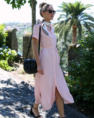blogger scarf shoes bag jewels sunglasses make-up button up pink light pink shoulder bag sandals black bag black sunglasses pink dress shirt dress midi dress belted dress short sleeve dress mid heel sandals black sandals the classy cubicle