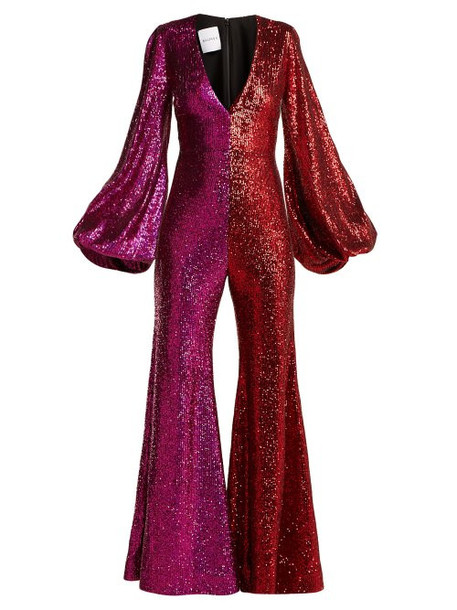 Halpern - Sequinned Bell Sleeve Jumpsuit - Womens - Red Multi