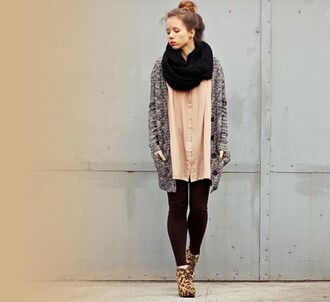 cardigan jacket sweater light pink leopard print scarf girl