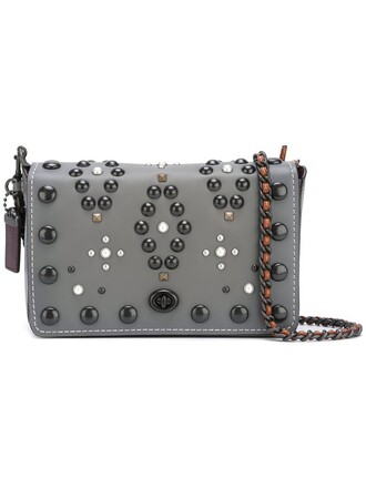 studded women bag shoulder bag grey