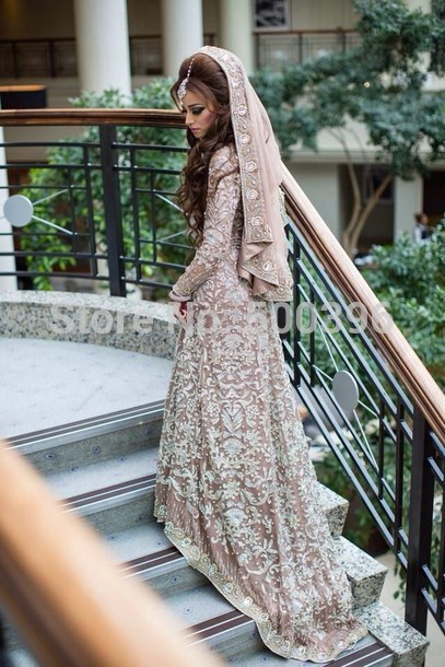 Buy muslim long sleeves wedding dress for Wedding dress in dubai