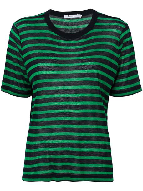 T By Alexander Wang - striped top - women - Linen/Flax/Viscose - XS, Blue, Linen/Flax/Viscose