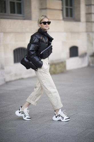 shoes sneakers louis vuitton sneakers pants nude pants jacket black jacket bomber jacket puffer jacket sunglasses