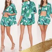 jacket,tropical,printed blazer,shorts,top,leaf print,palm tree print,blazer,crop tops