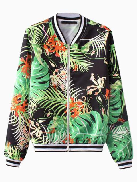 Leaf Print Bomber Jacket | Choies