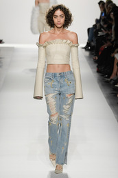 top,jonathan simkhai,off the shoulder,crop tops,runway,ny fashion week 2017,fashion week 2017,nyfw 2017