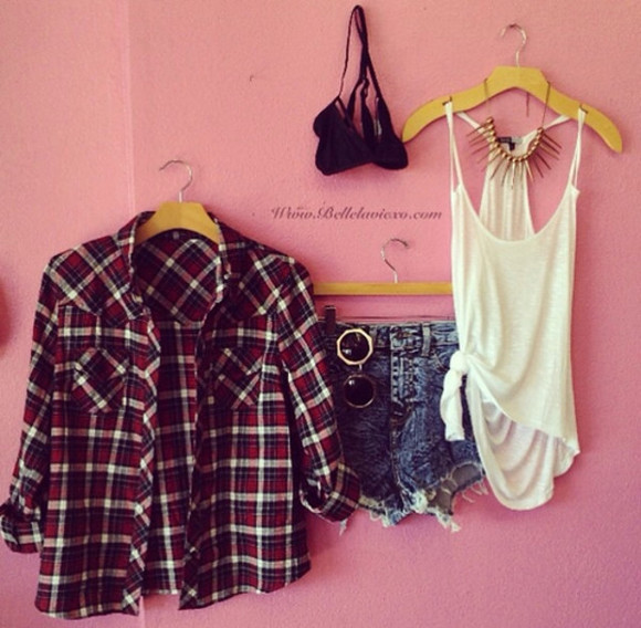 plaid shirt tank top shirt summer outfits shorts