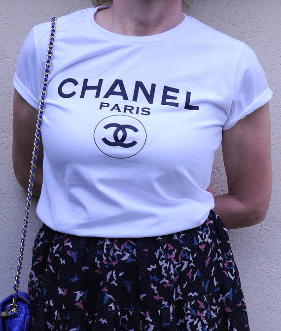 T shirt tshirt chanel inspired shop for t shirt tshirt for Chanel logo t shirt to buy