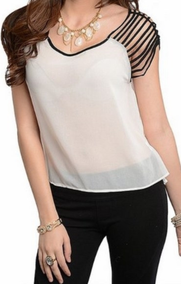 blouse cute top black white
