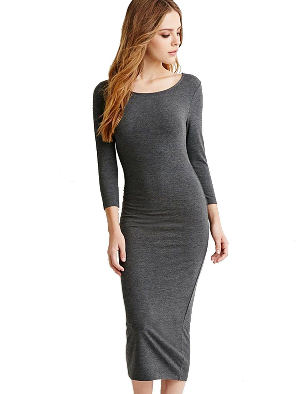4c0c9793da9 Haoduoyi Womens Pure Color Long Sleeve Elastic Basic Dress at Amazon  Women's Clothing store: