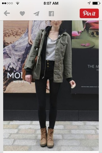 h&m or american eagle army green jacket black jeans grey top brown bag brown boots cardigan jacket coat blouse jeans