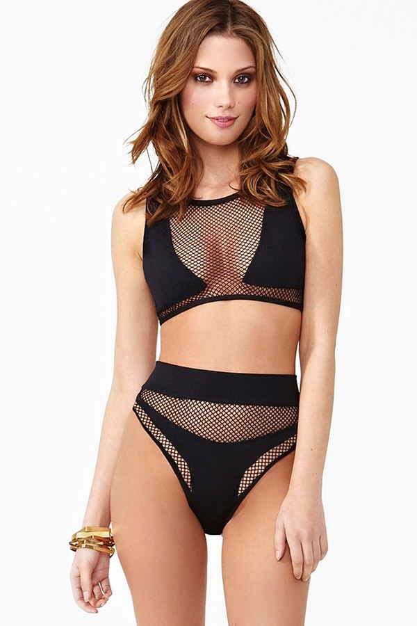 swimwear black mesh net high waisted summer