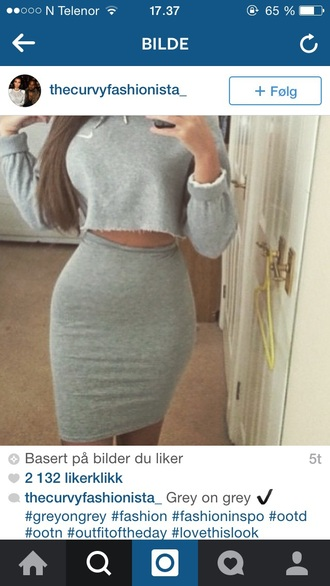 sweater nike grey hoodie grey skirt