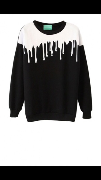 sweater black white tumblr style black sweater dripping goo pastel goth dripping grunge melting drips slide shoes blood sweatshirt paint print girl girly girly wishlist black and white fashion trendy cool long sleeves fall outfits newchic shirt