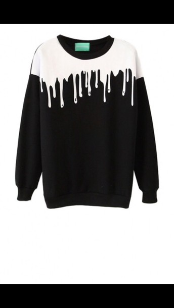 sweater back sweater white paint drip crewneck sweater black tumblr style black sweater dripping goo pastel goth dripping grunge melting drips slide shoes blood sweatshirt paint print girl girly girly wishlist black and white fashion trendy cool long sleeves fall outfits newchic shirt