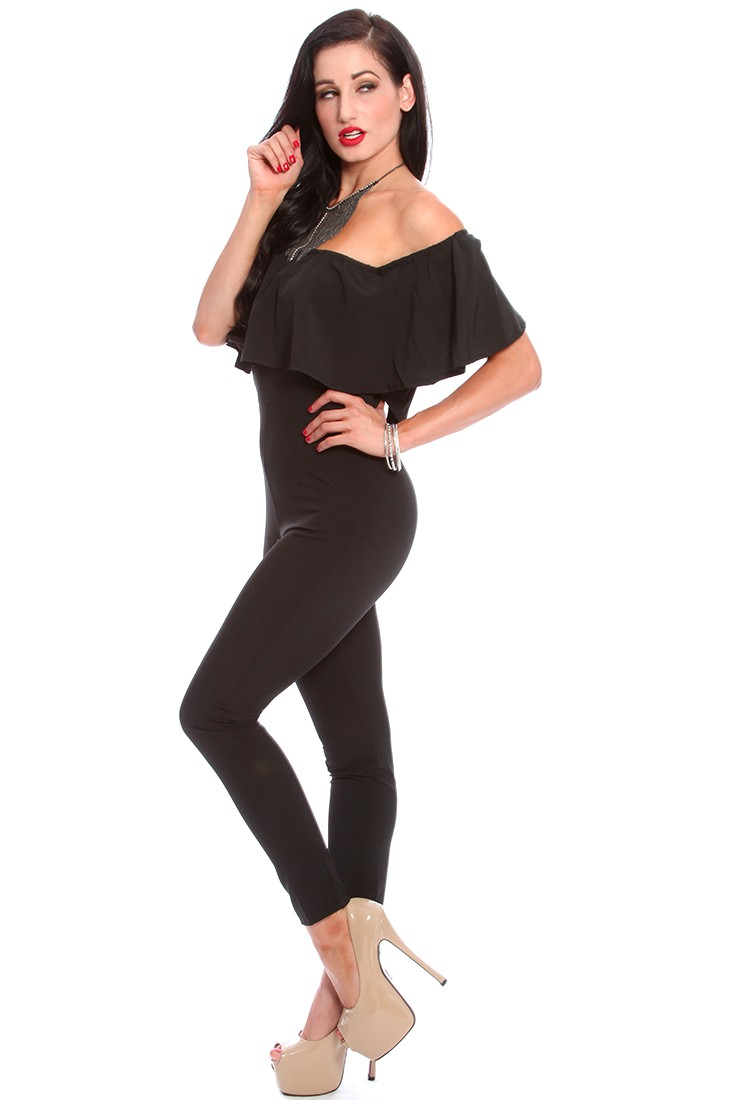 Black Ruffle Off Shoulder Sleeves Jumpsuit Outfit
