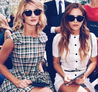 dress white green checkered plaid short mini pretty cute buttons rosie huntington-whiteley green dress plaid dress mini dress tartan dress collared dress