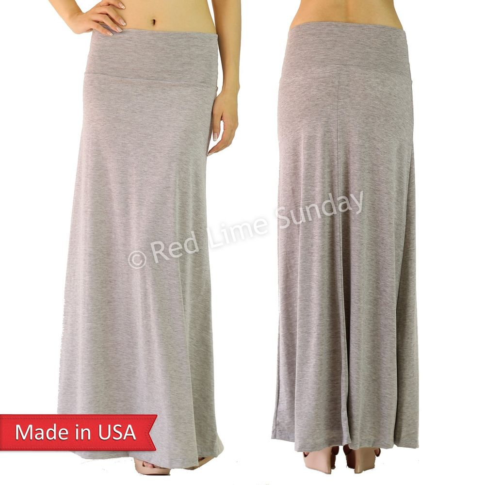 New Women Urban Style Casual Solid Color Stretchy Fold Over Long Maxi Skirt USA