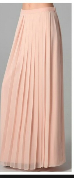 Skirt: pink, blush, pleated skirt, pastel pink, maxi skirt ...
