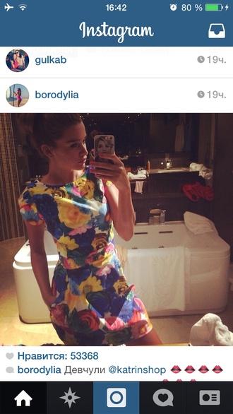 fashion colorfull dress floral dress nice mini dress