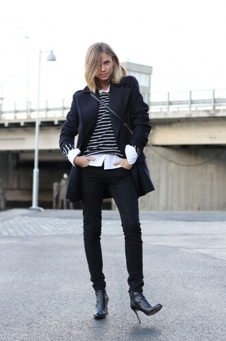 the fashion eaters blogger striped sweater pea coat black jeans black boots