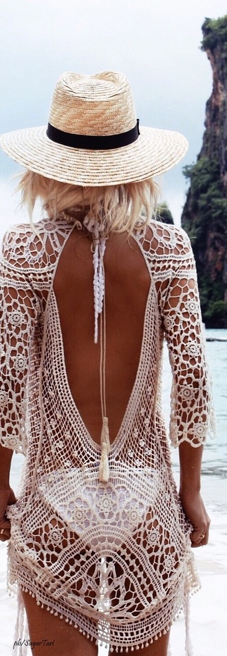 dress cover up beach lace white white lace boho lace dress crochet crochet dress open back open back dresses see through see through dress beach dress summer summer dress boho dress boho chic hippie hippie chic gypsy low back dress low back swimwear