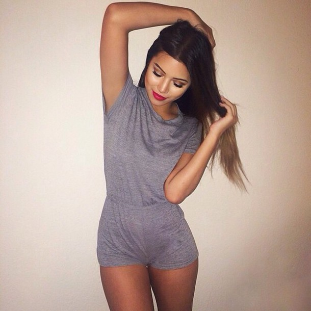 jumpsuit grey jumpsuit romper romper short shorts this dress grey dress fashion beautiful red lipstick hairstyles cute romper grey romper grey jumpsuit shortsleeve thin grey tumblr girl top grunge grey girly summer pinterest