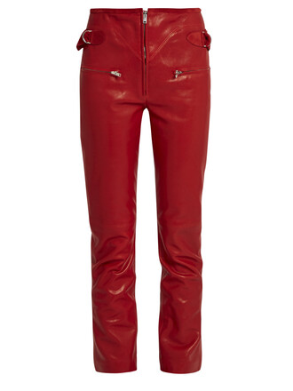leather red pants