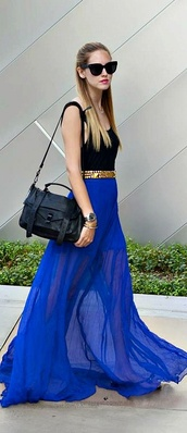 skirt,blue,maxi skirt,cobalt,sheer shirt,long skirt