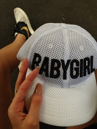 hat white babygirl hat baby girl cap white black and white