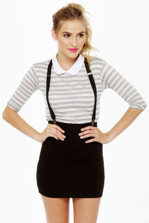 Hip Suspender Skirt - Black Skirt - Mini Skirt - $31.00