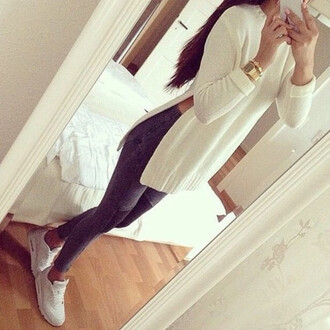 white sweater dope leggings slit pants
