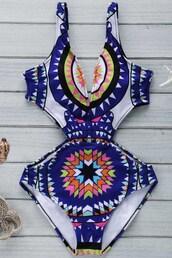 swimwear,one piece swimsuit,pattern,blue,summer,beach,hot,zaful