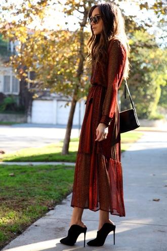 ring my bell blogger long sleeve dress maxi dress high heels spring dress