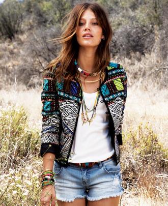 jacket gypsy boho embroidered embroidered jacket embellished jacket boho jacket top white top printed top jeans denim shorts blue shorts boho necklace stacked bracelets bracelets necklace
