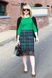 poor little it girl,blogger,sweater,green,plaid skirt,leopard print