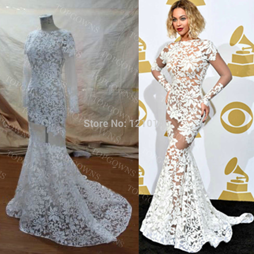 Aliexpress.com : Buy Beyonce Red Carpet Bateau Long Sleeve Backless Sheer Lace Mermaid White Celebrity Dress from Reliable celebrity award dresses suppliers on TOPGOWNS