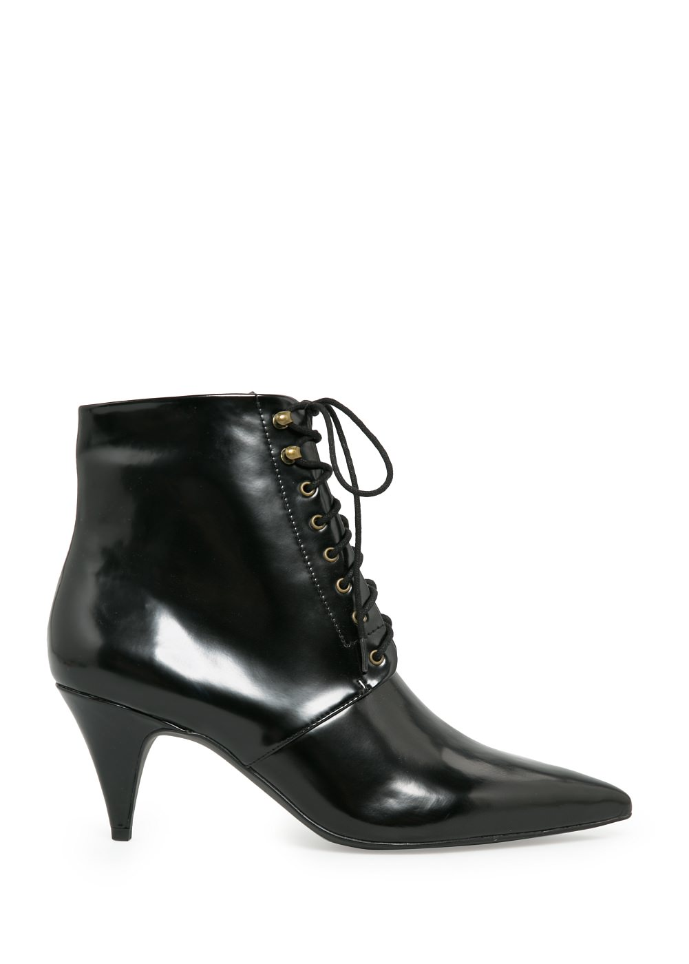 Lace Up Ankle Boots With Heel - Qu Heel