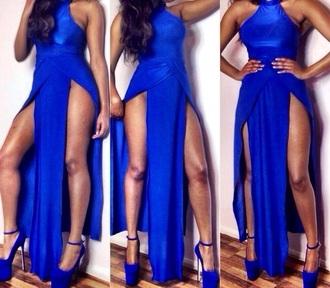 blue dress slit dress pumps sexy dress