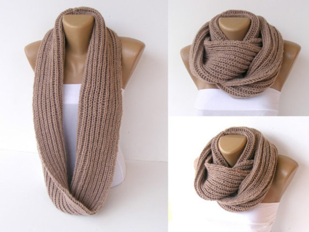Scarf Knitwear Knitted Scarf Brown Camel Women Scarf