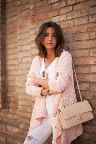 lovely pepa blogger cardigan pink quilted bag chanel bag knitted cardigan